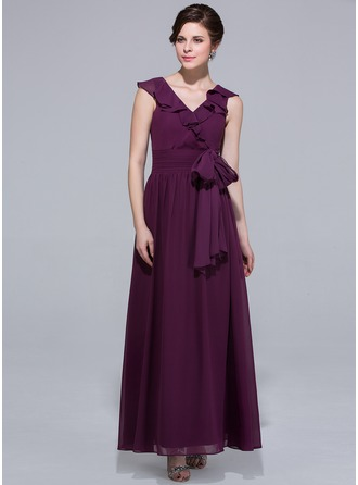 A-Line/Princess V-neck Ankle-Length Chiffon Bridesmaid Dress With Bow(s) Cascading Ruffles