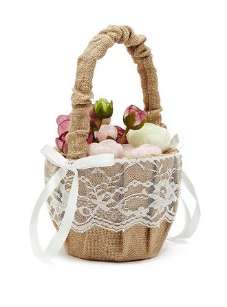 Linen With Lace Flower Basket