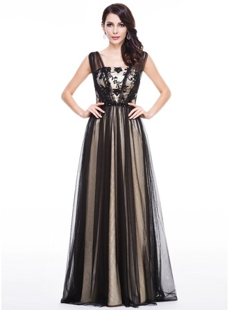 A-Line/Princess Floor-Length Tulle Charmeuse Evening Dress With Lace Beading Sequins