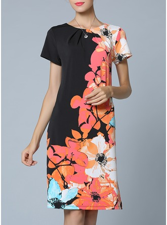 Polyester/Knitting With Print Knee Length Dress