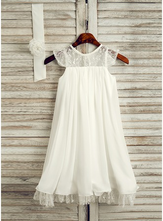 A-Line/Princess Knee-length Flower Girl Dress - Chiffon Sleeveless Scoop Neck With Lace