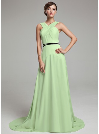 A-Line/Princess V-neck Sweep Train Chiffon Charmeuse Holiday Dress With Ruffle Sash