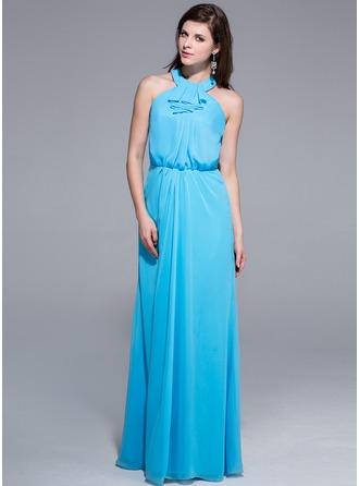 A-Line/Princess Scoop Neck Floor-Length Chiffon Evening Dress With Cascading Ruffles