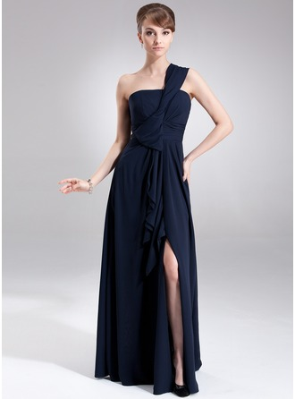 A-Line/Princess One-Shoulder Floor-Length Chiffon Evening Dress With Split Front Cascading Ruffles