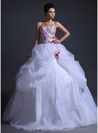 Ball-Gown Sweetheart Floor-Length Organza Wedding Dress With Embroidery Ruffle Beading Flower(s)