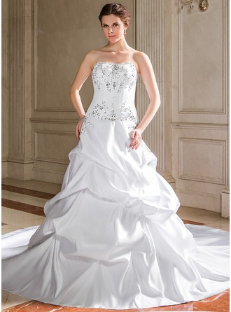 A-Line/Princess Sweetheart Cathedral Train Satin Wedding Dress With Embroidered Ruffle Beading Sequins