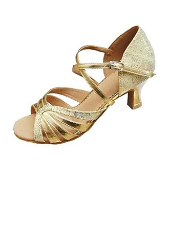 Women's Leatherette Sparkling Glitter Heels Sandals Latin Ballroom Dance Shoes