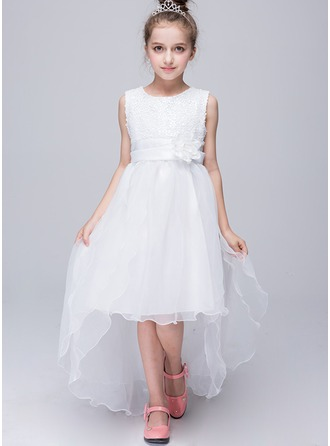 A-Line/Princess Court Train Flower Girl Dress - Tulle/Sequined Sleeveless Scoop Neck With Flower(s)