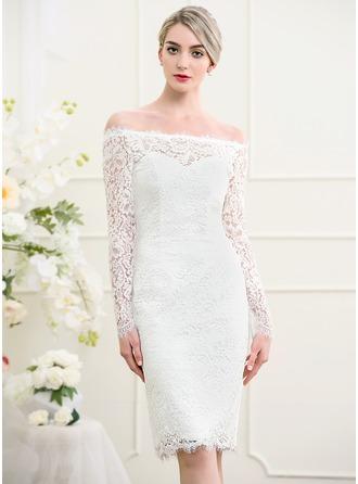 Sheath/Column Off-the-Shoulder Knee-Length Lace Wedding Dress