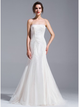 Trumpet/Mermaid Strapless Court Train Tulle Wedding Dress With Beading Sequins