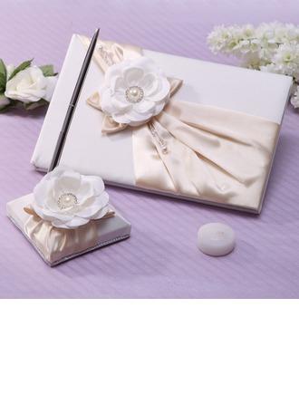 Élégante De faux pearl/Une fleur Livres d'or & Ensemble de crayon