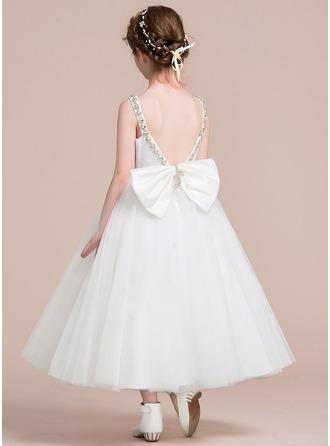 A-Line/Princess Tea-length Flower Girl Dress - Tulle/Lace Sleeveless V-neck With Bow(s)/V Back