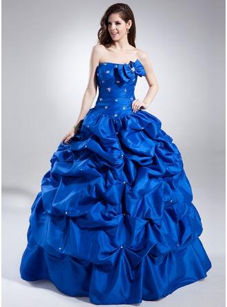 Corte de baile Escote corazón Hasta el suelo Tafetán Vestido de quinceañera con Volantes Bordado