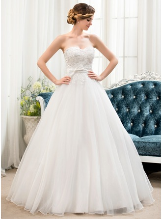 Ball-Gown Sweetheart Floor-Length Organza Satin Lace Wedding Dress With Beading Sequins Bow(s)