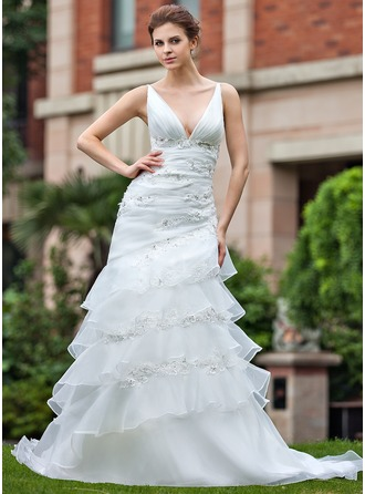 A-Line/Princess V-neck Chapel Train Organza Wedding Dress With Lace Beading Cascading Ruffles