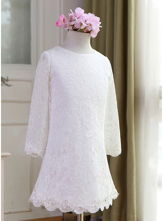 A-Line/Princess Knee-length Flower Girl Dress - Lace Long Sleeves Scoop Neck