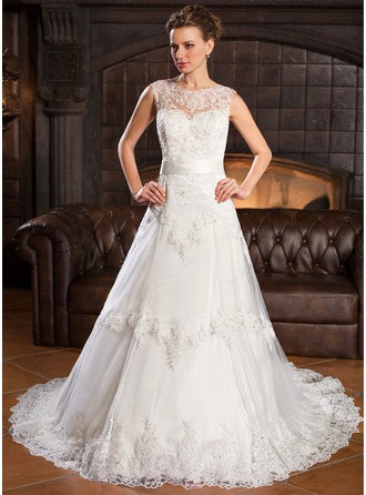 A-Line/Princess Scoop Neck Chapel Train Satin Tulle Lace Wedding Dress With Beading Sequins Bow(s)