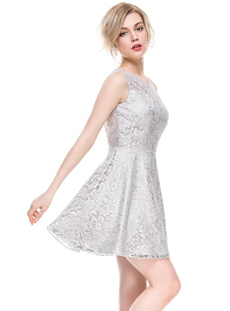 Forme Princesse Col rond Court/Mini Dentelle Robe de cocktail