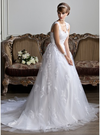 Balklänning V-ringning Chapel släp Tyll Bröllopsklänning med Pärlbrodering Applikationer Spetsar