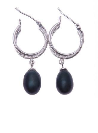 Mode Perle/925 et la chaîne avec Perle Femmes Boucles d'oreilles