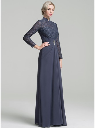 A-Line/Princess High Neck Floor-Length Chiffon Mother of the Bride Dress With Ruffle Beading