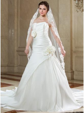 1 couche Voiles de mariée chappelle avec Bord en dentelle