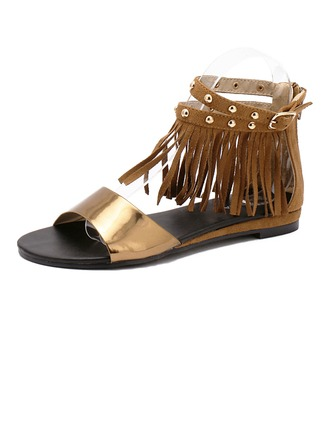 Femmes Vrai cuir Similicuir Talon plat Sandales À bout ouvert avec Tassel chaussures