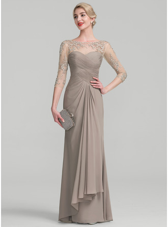 A-Line/Princess Scoop Neck Floor-Length Chiffon Lace Mother of the Bride Dress With Beading Sequins Cascading Ruffles