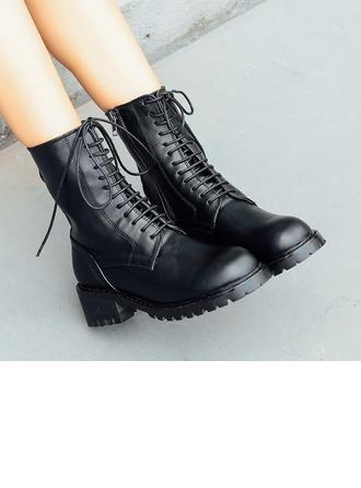 De mujer Cuero Tacón ancho Botas Martin botas con Cremallera Cadena zapatos