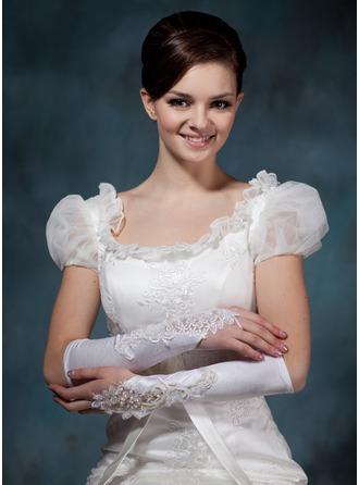 Elastische Satin Elbow Lengte Bruids Handschoenen