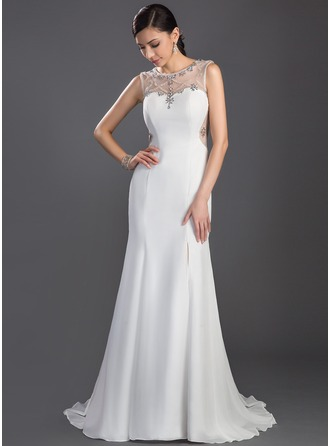 Trumpet/Mermaid Scoop Neck Sweep Train Chiffon Tulle Prom Dress With Beading Split Front