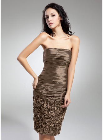 Sheath/Column Strapless Knee-Length Taffeta Cocktail Dress With Ruffle