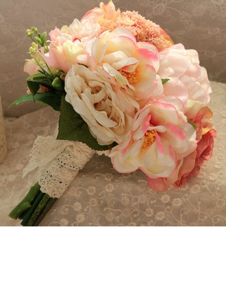 Attrayant Attaché à la main Soie artificielle Bouquets de mariée/Bouquets de demoiselle d'honneur -