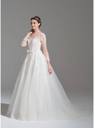 Ball-Gown Scoop Neck Court Train Detachable Tulle Lace Wedding Dress With Beading Appliques Lace Sequins Bow(s)
