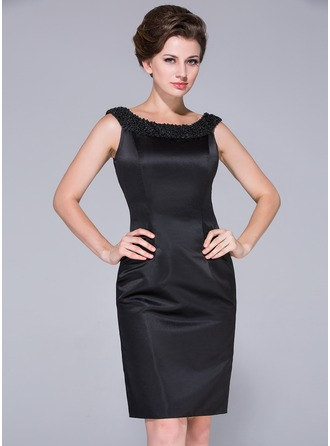 Sheath/Column Off-the-Shoulder Knee-Length Satin Mother of the Bride Dress With Beading