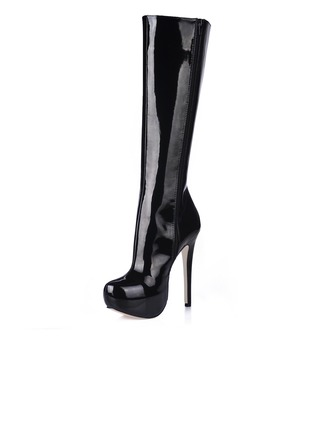 Patent Leather Stiletto Heel Platform Closed Toe Knee High Boots shoes