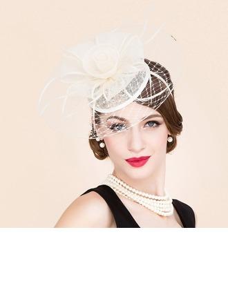 Dames Charmant Printemps/Été/Automne Tulle avec Feather Chapeaux de type fascinator