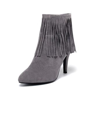 Femmes Suède Talon stiletto Escarpins Bout fermé Bottes Bottines avec Tassel Semelle chaussures