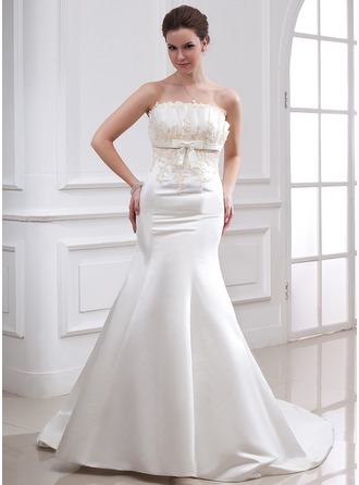 Trumpet/Mermaid Scalloped Neck Chapel Train Satin Wedding Dress With Beading Appliques Sequins Bow(s)