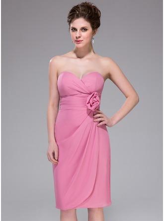 Sheath/Column Sweetheart Knee-Length Chiffon Bridesmaid Dress With Ruffle Flower(s)