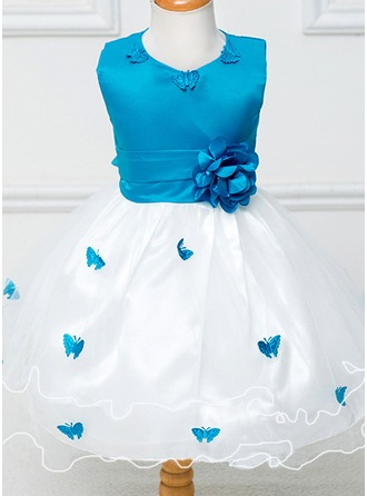 Forme Princesse Longueur mollet Robes à Fleurs pour Filles - Tulle/Polyester Sans manches Col rond avec Fleur(s)/À ruban(s)