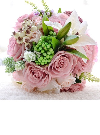 Magnifique Rond Satiné/PE/Strass/Linge de soie Bouquets de mariée/Bouquets de demoiselle d'honneur