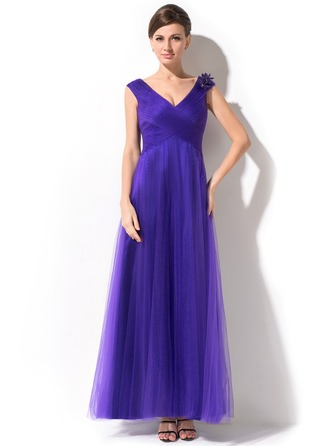 A-Line/Princess V-neck Ankle-Length Tulle Mother of the Bride Dress With Ruffle Beading Flower(s)