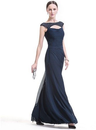 Sheath/Column Scoop Neck Floor-Length Chiffon Evening Dress With Ruffle Beading Sequins