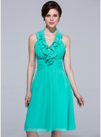 A-Line/Princess Halter Knee-Length Chiffon Bridesmaid Dress With Cascading Ruffles