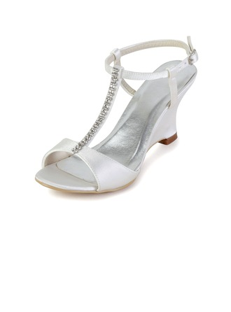 Women's Satin Wedge Heel Sandals Slingbacks Wedges With Buckle Rhinestone