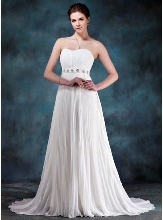 Empire Sweetheart Court Train Chiffon Wedding Dress With Beading Sequins Pleated