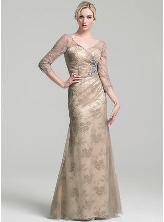 Etui-Linie V-Ausschnitt Bodenlang Tüll Kleid für die Brautmutter mit Rüschen Perlstickerei Pailletten