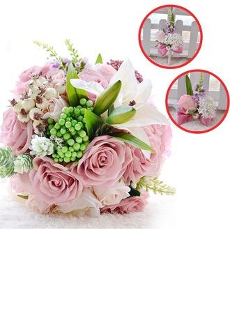 Charmant Rond Satiné/PE/Strass/Perle d'imitation/Linge de soie Sets de fleurs ( ensemble de 3) - Corsage du poignet/Boutonnière/Bouquets de mariée
