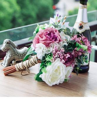 Plein d'esprit Attaché à la main Soie artificielle Bouquets de mariée